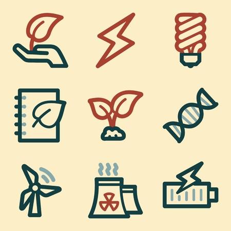 Ecology icon, green technology mobile sign. Eco infographics symbols Illustration