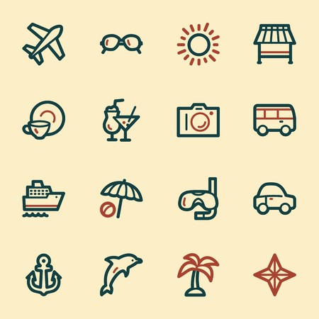 Vacation web icons set Illustration