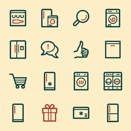 hob: Kitchen Appliances Web Icons Illustration