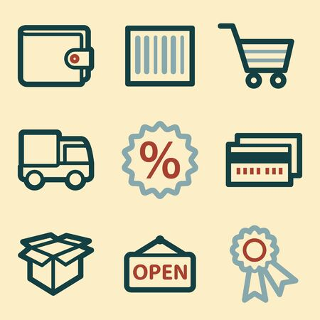 billfold: Shopping mobile icons, e-commerce infographics symbols. Illustration