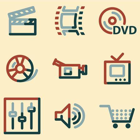 video icons: Video icons, colour contour series