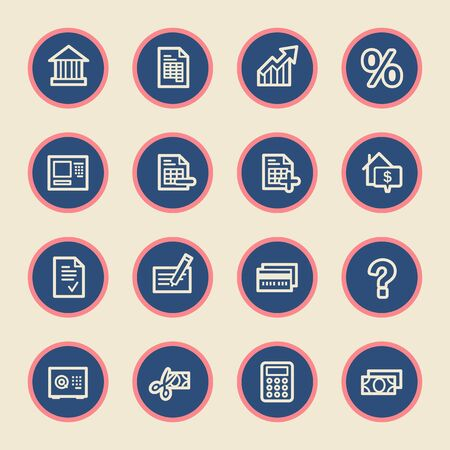 global finance: Finance and banking, credit card and cash, atm and rent, tax and mortgage, web vector stock icons Illustration
