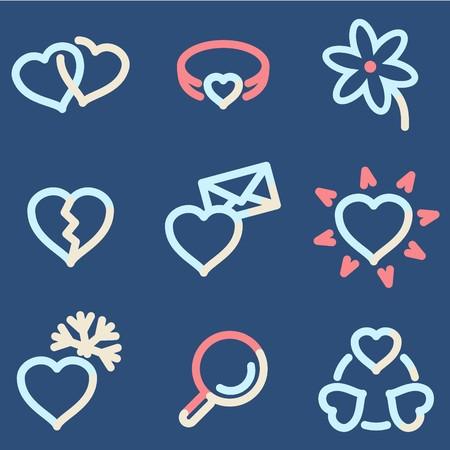 icq: Love icons, color contour series