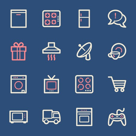 gas laundry: Home Appliance web icons set