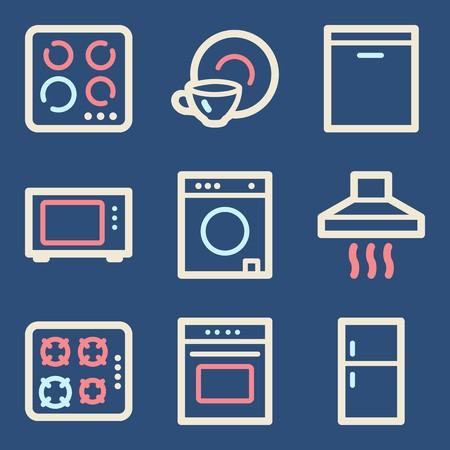 clothes washer: Home appliances mobile icons set, vector symbols.