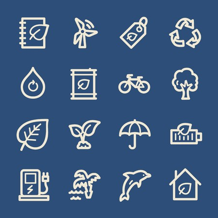 recycling symbol: Ecology web icons.  Green technology, environment protection and recycling symbol, vector signs