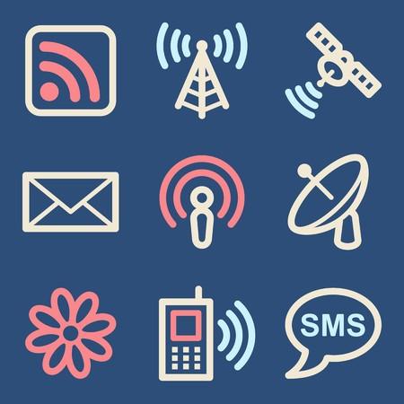 wireless telephone: Communication web icons set. Electronics mobile symbols.