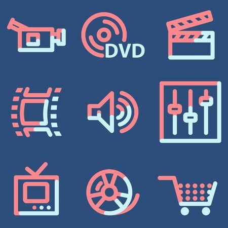 video icons: Video icons, light blue contour Illustration