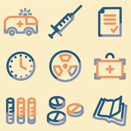 squirt: Medicine icons set 1, colour contour series Illustration