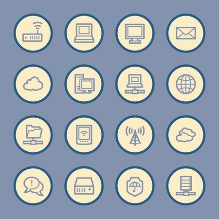folder icons: Cloud computing and internet, desktop and laptop, wireless and network, server and folder, icons set