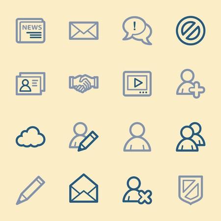 users video: Community. Social media icons set