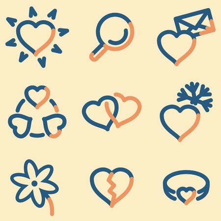 Love icons, light blue contour Illustration