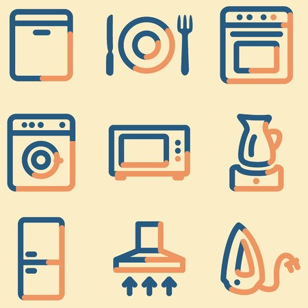air hole: Home appliances icons, light blue contour Illustration