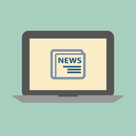 laptop screen: News concept. Laptop screen Illustration