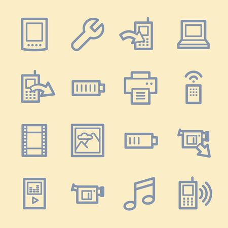 ring tones: Mobile content web icons set Illustration