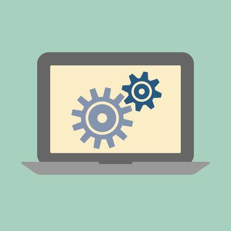 gear symbol: Laptop service concept