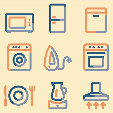 air hole: Home appliances icons, color contour series