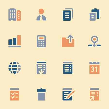 scheduler: Documents web icons set. Office and CRM mobile symbols.