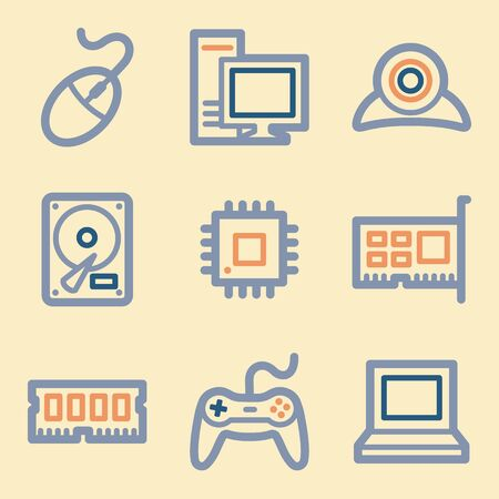 wireless telephone: Computer web icons set. Electronics and computers mobile symbols.