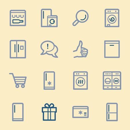 kitchen appliances: Kitchen Appliances Web Icons Illustration