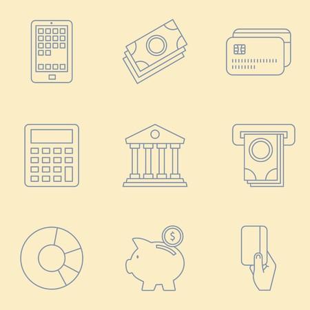 Thin Line Banking and Finance Web Icons Set Illustration