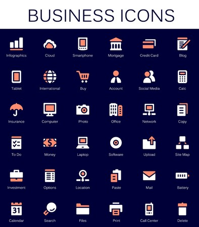 options: Business services and finance tools icons. Modern vector pictograms Illustration