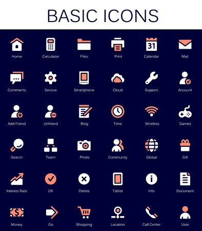 Basic web icons. Modern vector pictograms Illustration