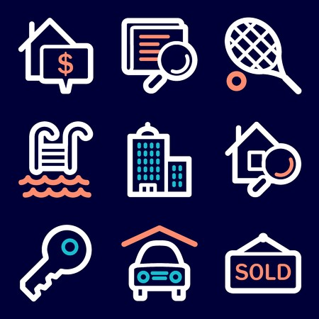swimming pool home: Real estate mobile icons, infographics symbols.