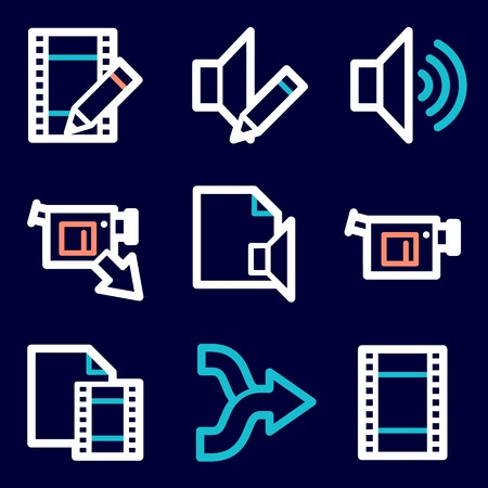 video icons: Audio video moble icons, sound and cinema signs. Illustration