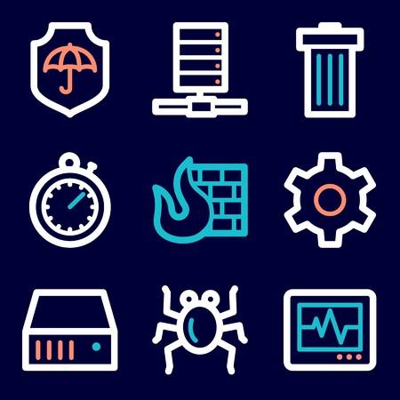 mobile internet: Internet web icons set. Service mobile symbols.