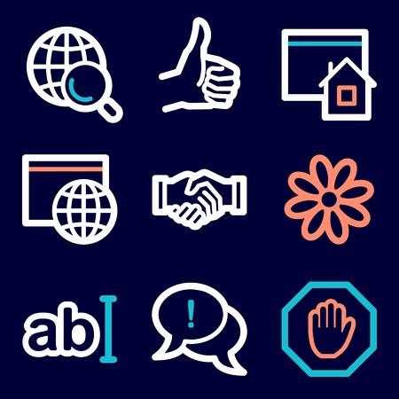 icq: Internet web icons set. Service mobile symbols.