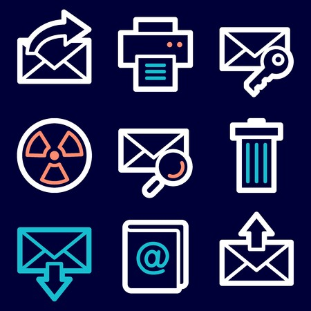 E Mail And Documents Web Icons Set Office And Crm Mobile Symbols