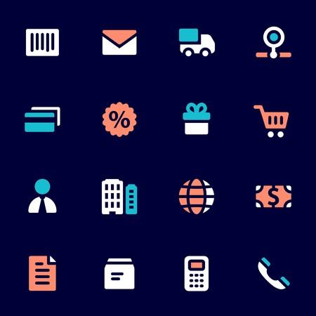 Shopping mobile icons, e-commerce infographics symbols. Illustration