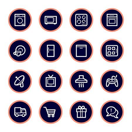 Inicio Electrodomésticos web iconos conjunto