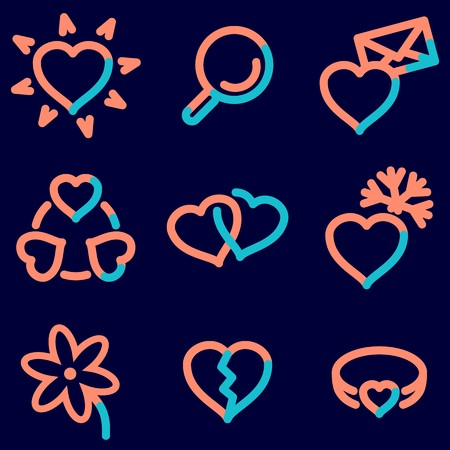 Love icons set, signs for infographics, web, presentation