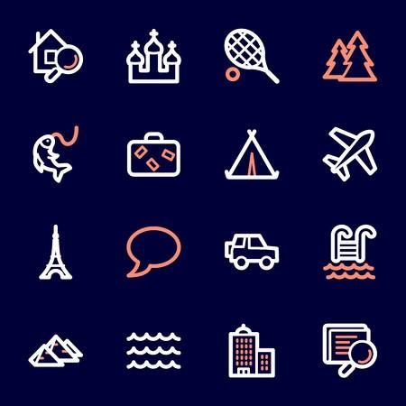 Conjunto de iconos de web de viajes