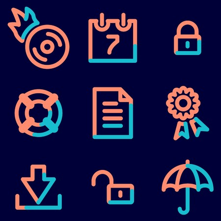 web security: Data security icons set, signs for infographics, web, presentation Illustration