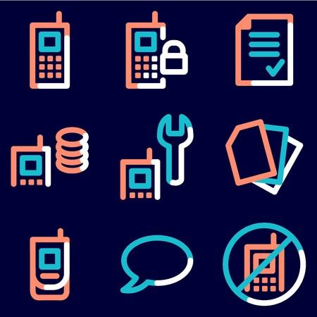 prepaid: Mobile phone icons set 1, colour contour series