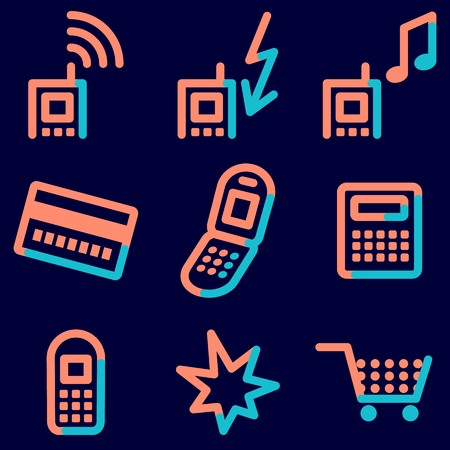 Mobile phone  icons set, signs for infographics, web, presentation