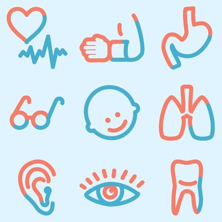 Medicine icons set, signs for infographics, web, presentation Stock Photo