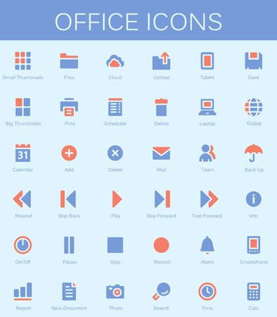 calc: Back office services and documents tools icons. Modern vector pictograms