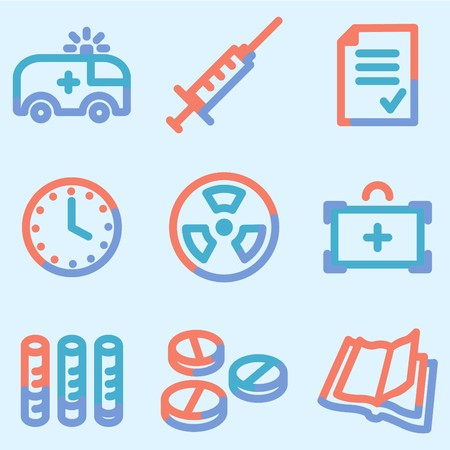Medicine icons set 1, colour contour series Stock Photo