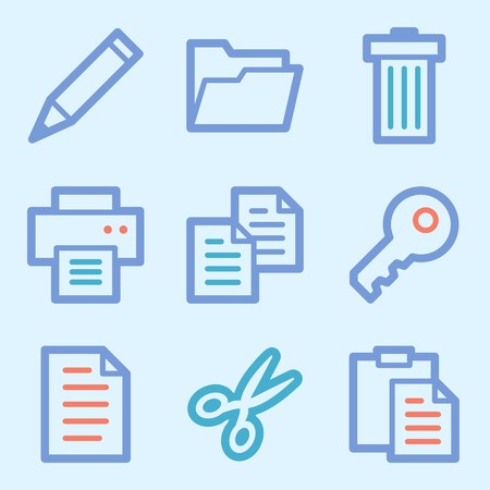 Documents Web Icons Set Office And Crm Mobile Symbols Stock Photo