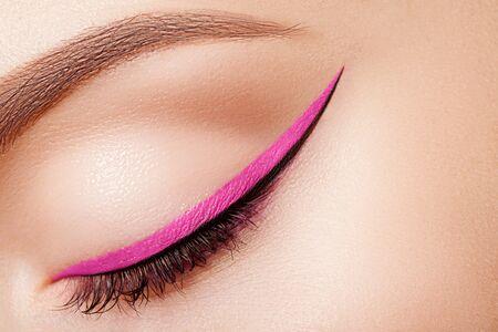 makeup eyes: Colorful eye makeup closeup. Stock Photo