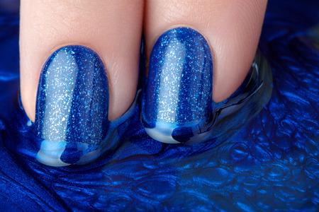 acrylic nails: Beautiful blue nails.
