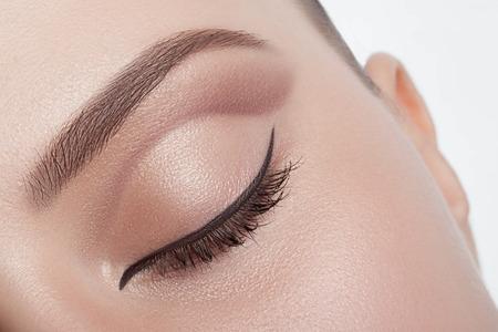 makeup eyes: Natural make-up eyes close-up with the band.