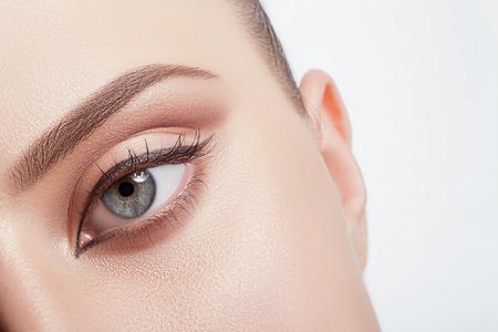 Natural make-up eyes close-up with the band.