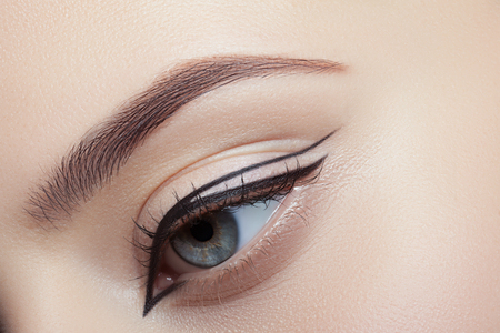 beautiful eye: Colorful eye makeup closeup. Stock Photo