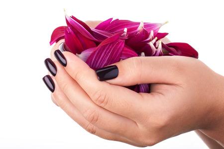 cosmeticos: Clavos hermosos y flor de primer plano, gran idea para la publicidad de cosm�ticos.