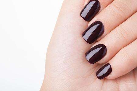 아름다운 손톱과 꽃 근접, 화장품의 광고를위한 좋은 아이디어.